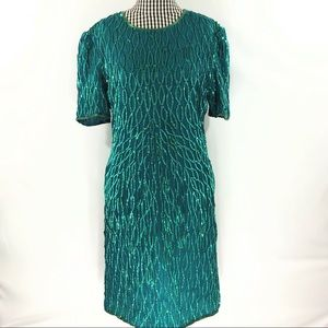 Vtg Laurence Kazar Sequin Dress